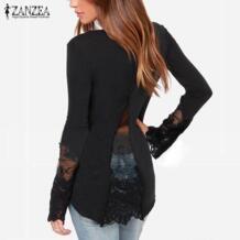 2019 модные женские туфли Осень Blusas Кружева Лоскутные рубашки Повседневное с длинными рукавами и круглым вырезом блузка Топы Блузка feminina ZANZEA 32288091780
