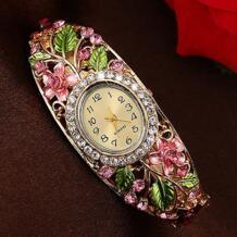 2016 Для женщин леди красивый хрустальный Цветной сплав жесткий браслет с цветком часы аналоговые кварцевые 181 G6TN подарки на день рождения 8HZQ BLUELANS 32612667304
