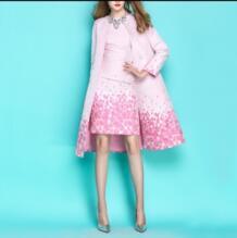 2019 весенне-осенний женский розовый жаккардовый длинный Тренч с цветочным принтом элегантный дамский круглый вырез ветровки Верхняя одежда Chimavvi 32798412384