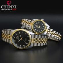 Лидирующий бренд влюбленных пар кварцевые Для мужчин часы Для женщин подарок на день Святого Валентина часы дамы возможностью погружения на глубину до 30 м Водонепроницаемый Наручные часы Chenxi 32754718476