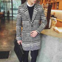 зима Британский стиль ретро Хаундстут шерстяные Куртки пальто мужчины длинный отрезок повседневный комплект воротником шерстяное пальто мужчины, M-XXL MIXCUBIC 32754128285