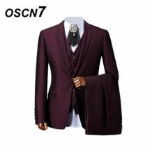 фиолетовый портной костюмы Для мужчин 3 шт Свадебные джентльмен индивидуальный заказ костюм Для мужчин расширенный настройки Для мужчин s костюм oscn7 32863099661