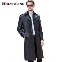 Тренч Для мужчин длинные черные классический отложной воротник осень-зима гороха пальто Повседневное пальто однобортный ПУ желоба куртки M-4XL No name 32691666980