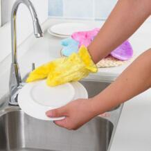 Новый Водонепроницаемый нефти мытья Перчатки Магия обеззараживания натуральных волокон древесины чистке мыть посуду Перчатки для кухни 4 цвета No name 32850345170