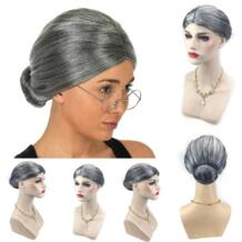 Старушка Бабушка серый парик булочка волосы гранд мама маскарадный костюм Прямая поставка 0922 HAICAR 32855093436
