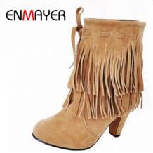 полусапоги большие размеры США 4–14 бесплатная доставка зимняя обувь новые поступления обувь на высоком каблуке с острым носком замшевые зимние ботильоны с бахромой-in Полусапожки from Обувь on Aliexpress.com | Alibaba Group ENMAYER 1446072631