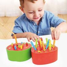 Детские деревянные игрушки Форма клубники Магнитный ловить червя игра для раннего развития малыша игрушка для детей YF1164H No name 32885918268