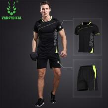Для мужчин спортивной Джерси бег спортивные комплекты Баскетбол Тренировки Тренажерный Зал летние рубашки Быстросохнущие шорты человек Футбол Джерси комплекты VANSYDICAL 32816990954