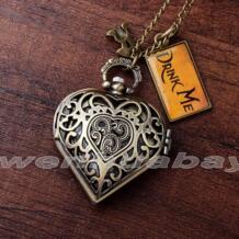 Мода Бронзовый Сердце Форма полый корпус Drink Me Алиса в стране чудес карманные часы Цепочки и ожерелья Для женщин леди девушка лучший рождественский подарок DRINK71 Gorben 32556440328