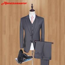 Бренд Serge Slim Fit Мужские костюмы темно-серые свадебные костюмы для лучших мужчин 2019 модные Умные повседневные мужские смокинги (куртка + жилет + брюки) No name 32828579351