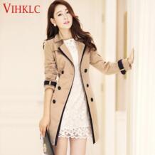 Для женщин Тренч 2017 Демисезонный корейской Тонкий двубортные пальто Чистый цвет женские Ретро Повседневное пальто плюс Размеры 3XL A339 VIHKLC 32803987133