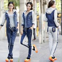 Осенние костюмы комплект корейской моды для женщин вязать шить джинсовая куртка с капюшоном + брюки для девочек повседневное комплект из 2 DANCING WINGS 32712862724