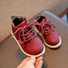 Новые зимние для маленьких мальчиков обувь для девочек Модные ботинки на шнурках до кожа ребенка обувь теплые детские пинетки противоскользящие Новое поступление S # ARLONEET 32845102191