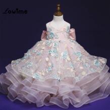 Розовые платья для девочек с цветочным узором Платья для церемонии причастия Vestido Longo 2018 Платья для девочек, Q002 вечерние и свадебные платья для выпускного детей Lowime 32855281965