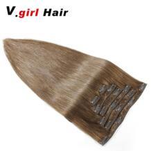 Машина сделала Реми Прямо Клип В бразильский Пряди человеческих волос для наращивания 100% человеческих Заколки для волос в #6 Цвет 100 г-200 г 14 дюймов-26 дюйм(ов) No name 32881703300