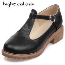 2019 модные Винтаж резные плоская подошва круглый носок на плоской подошве женская обувь с на аккуратный, милый Оксфорд Для женщин обувь hight colors 32628203122