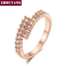 Одежда высшего качества ZYR176 лаконичный Кристалл кольцо Шампанское розовое золото цвет Австрийские кристаллы Полный размеры опт ZHOUYANG 1175338708