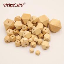 TYRY. HU 50 шт. натуральные деревянные шестигранные бусины DIY ожерелье ручной работы Детский Прорезыватель уход деревянные жевательные игрушки размер подарка для вас TYRY.HU 32826390984
