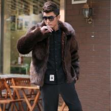 Лидер продаж Новая зимняя мода Для мужчин пальто с искусственным мехом, Для мужчин high end меха лисы с отложным воротником leathet куртка для отдыха свободные Большие Размеры S-4XL No name 32491427314