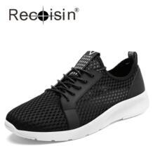 Recoisin 2017 мужская повседневная обувь Летняя модная дышащая мужская обувь на шнуровке серый черный плоские ботинки сетки плюс размеры 38–46 No name 32824883439
