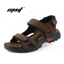 Высочайшее качество мужчины сандалии летние тапочки натуральная кожа сандалии Мужская Уличная обувь мужские кожаные сандалии для мужчин MVVT 32788773756