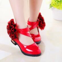 Новое поступление 2016 года; Осенняя кожаная обувь для маленьких девочек; модная обувь принцессы с цветком в римском стиле; Детские вечерние туфли HYLKIDHUOSE 32676400032