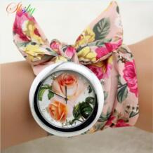 новый дизайн дамы цветок ткань наручные часы модные женские туфли платье часы Высокое качество ткань часы сладкий обувь для девоч... shsby 1943020708