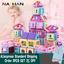 258 шт. розовый Магнитный конструктор Строительный набор модель магнит игрушка пластиковые магнитные блоки мини Развивающие игрушки для детей NASHAN 32916234764