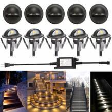 Черный IP65 Half Moon свет Открытый Путь Сад Лестницы LED палубе Открытый Шаг Огни Лампы для мотоциклов упаковка из 10 теплый белый No name 32832995779