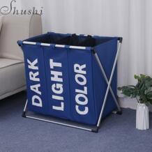 Шуши портативный водонепроницаемый корзина для белья складной алюминиевый каркас три сетки мешок для белья корзина для грязной одежды игрушки сумка для хранения Shushi 32802170728