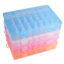 Регулируемый 24 решетки прозрачный пластик коробка для хранения ювелирных изделий серьги случае контейнер Коллекция Главная Организатор SANGEMAMA 32609619184