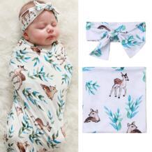 Для новорожденных пеленать Одеяло пеленка для сна цветочный теплый палевый обёрточная бумага + повязка на голову до 12 месяцев 80X80 см No name 32994749658