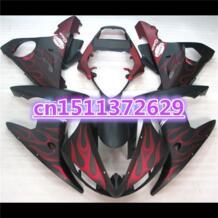 Красный Пламя в черном ABS обтекатель КУЗОВ для YZF R6 2003 2004 2005 YZF-R6 03 04 05 YZFR6 600 03 -05 комплект обтекателей-Dor No name 32610179522