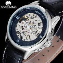 2017 Элитный бренд Hollow Гравировка черный золотой кожаный чехол Скелет Деловые часы Для мужчин Элитный бренд heren horloge Forsining 32617736401