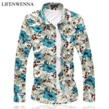 6XL 2019 Новое поступление мужская рубашка Китайский стиль принт с длинным рукавом рубашка мужская Chemise Homme Высокое качество Повседневная приталенная Мужская s рубашки li fen wen na 32421112307