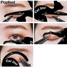 10 в 1 быстрый макияж Cat для глаз бровей Eye Liner трафарет модели Шаблон Shaper инструмент штамповки рисунок руководство многоразовый трафарет QIC 32825851616