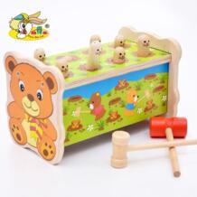 Деревянный милый маленький медведь хит хомяков большой дети стук развивающие игрушки хомяк тыкать моль детей Шум Чайник игрушки No name 32867498775