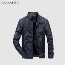 Новинка 2017 года для мужчин Кожаная куртка зимняя мода высокое качество из искусственной кожи повседневное Байкер Верхняя мужская куртка и пальт CARANFIER 32833880643