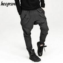 HEE GRAND мужская Повседневные Брюки 2017 Новая Мода Твердые Кросс-брюки Hip Hop Шаровары Мужчин Уличной Одежды Брюки Для Человека MKX1229 No name 32794336156