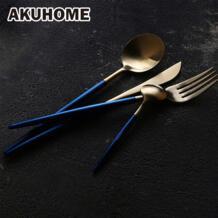 9 шт Синий Золотой Синий Серебряный Нержавеющаясталь набор столовых приборов Европейский простой и творческий посуда домой путешествия существенные AKUHOME 32876512109