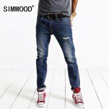 2016 новинка на весну и зиму модные рваные обтягивающие джинсы для мужчин длинные джинсовые штаны повседневные брюки SJ6055 Simwood 32739995158