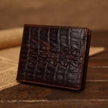 Дизайнерские мужские классические винтажные кошелек из кожи крокодила темно-коричневые высокого качества тонкий натуральная кожа с тиснением бумажник тонкий простой No name 1551307544