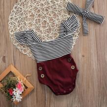 Полосатый Bebe Одежда и аксессуары для девочек новорожденных одежда для малышей Одежда для девочек боди + повязка на голову летний комплект одежды комбинезон для маленьких детей pudcoco 32813517091