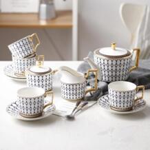 Высококлассный костяной фарфоровый кофейный набор керамическая кофейная чашка Европейская чашка послеобеденного чая. Пномпень костюм XINCI 32831266859