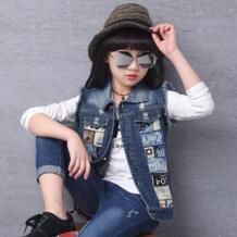 Джинсовый жилет для девочек, коллекция 2018 года, Осенний жилет без рукавов для детей, милая Одежда для девочек, пальто Детская верхняя одежда с принтом, куртки GB-Kcool 32864024196