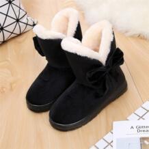 Хлопковые женские зимние ботинки на плоской подошве, модные зимние женские ботильоны с Плюшевым Мехом и бантиком, теплая удобная женская обувь, 2018 TVS905 WENSIOU 32720310510