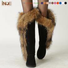 Натуральным лисьим мехом корова замша длинные зимние ботинки для женщин Сапоги выше колена обувь для вечеринок женские мотоциклетные ботинки INOE CREATE GLAMOUR 32215901411