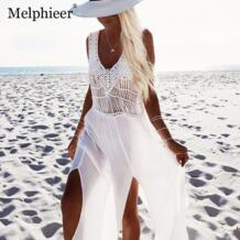Пикантные Белые пляжные прикрыть бикини прикрыть купальники женская летняя обувь платье Пляжная Юбка крышку ИБП крючком Пляжная накидка Melphieer 32787478547