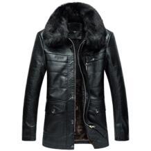2018 зимняя куртка мужская кожаная куртка повседневная меховой воротник флис теплая мягкая однотонная Длинная кожаная куртка Мужские пальто из искусственного меха большие размеры GOUHAI 32828283630