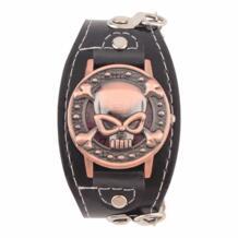 Чехол с черепом кварцевые часы для мужчин и женщин из искусственной кожи наручные часы-браслет мужские байкерские металлические Relogio Masculino OUTAD 32706232661